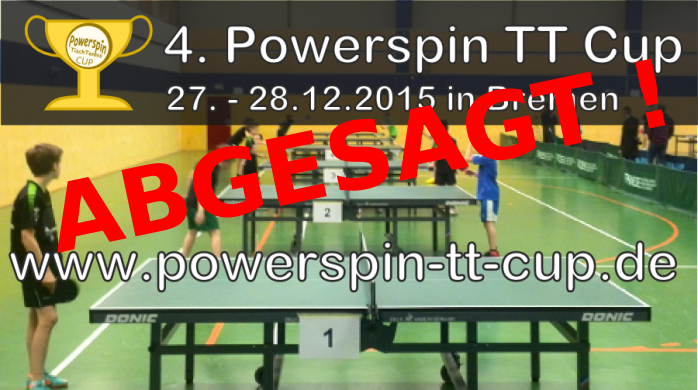 Powerspin-TT-Cup am 27. und 28. Dezember 2015 abgesagt