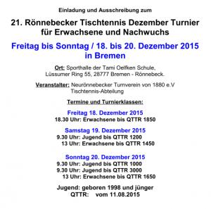 21. Rönnebecker Tischtennis Dezember Turnier